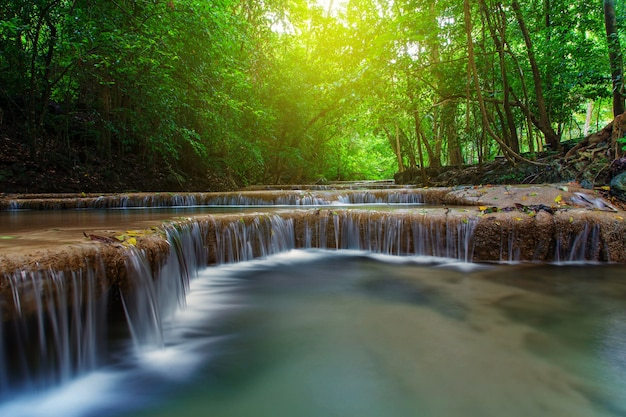 Waterfall with tree in deep forest, kanchanaburi, thailand