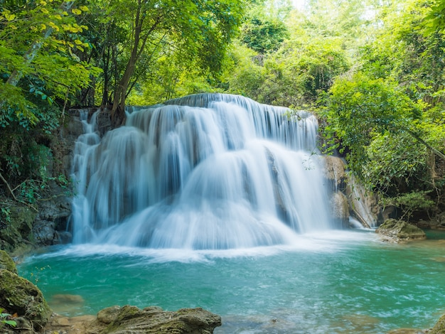 Waterfalls in deep forest at national park  ,a beautiful stream water famous rain forest waterfall in thailand