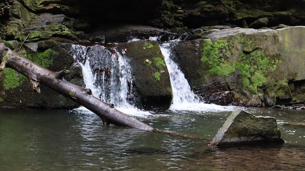 Водопады в небольшом каньоне с каменными стенами. красивый каскад в горах. река в карпатах в горном осеннем лесу. живописный вид, движение воды.