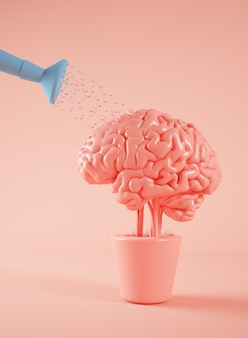 Полив мозгового растения 3d-рендеринга