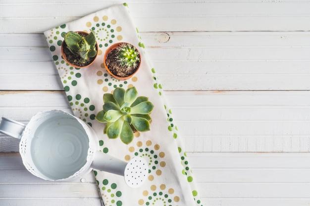 木製テーブル上のナプキンの上に水を入れることができます。