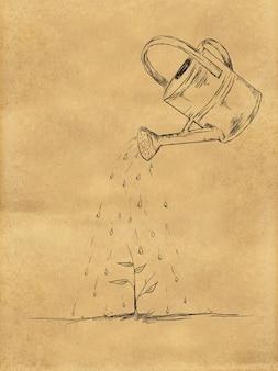 종이에 물을 작은 식물 스케치
