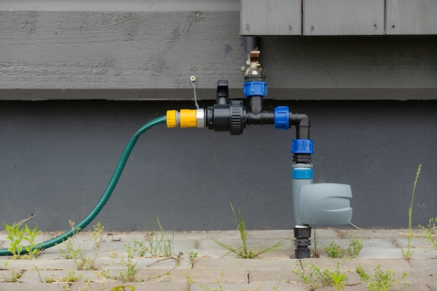Watering system pipes for the garden outside. sprinkling circulation water pipes.
