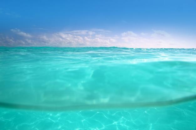 Waterline caribbean sea underwater and blue sea