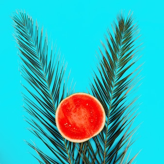 Арбуз и пальма на синем фоне. плоская планировка минимального веганского искусства
