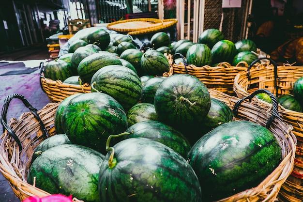 Watermelon in bamboo basket