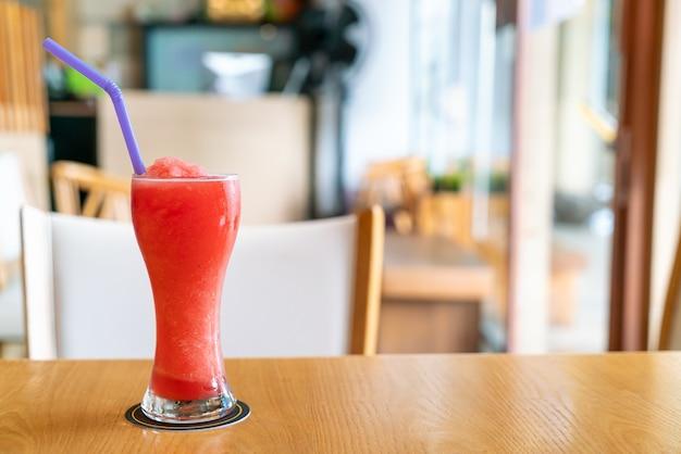 Watermelon blend smoothie glass in cafe restaurant