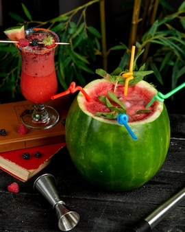Watermelon cocktail with mint served with straws