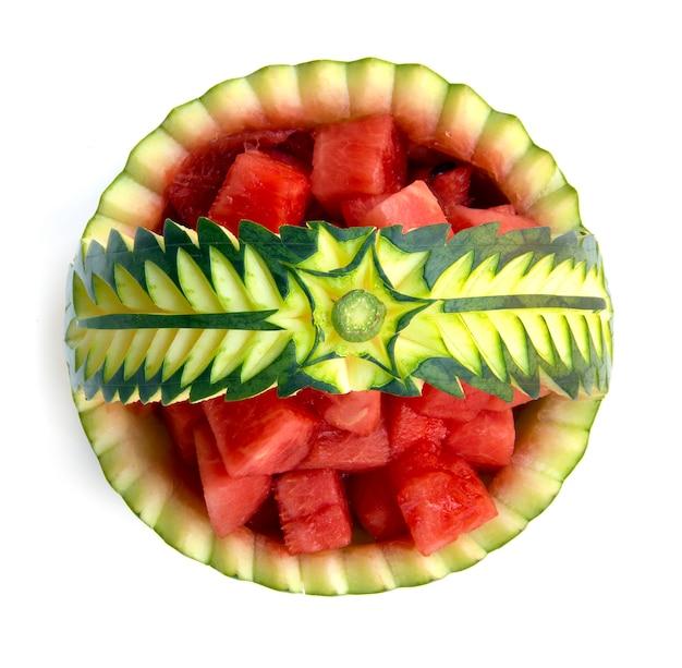 スイカ装飾スイカスライスキューブ夏のトップビューに分離されたフルーツフルーツタイムに中切り分け