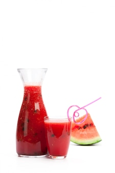 Watermelon drink in glasses with slice