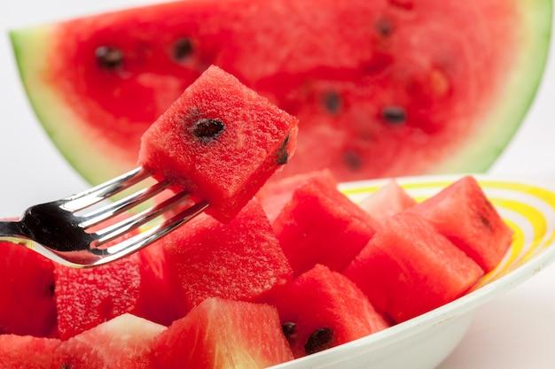 Watermelon fruit cube slice