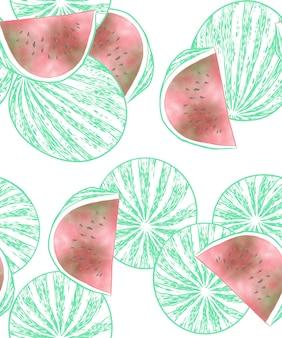 Watermelon fruit seamless pattern