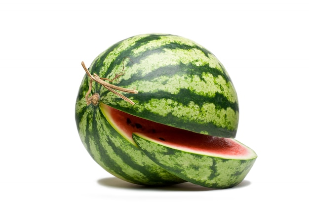 Watermelon fruit on white