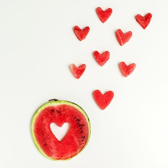 Watermelon heart isolated