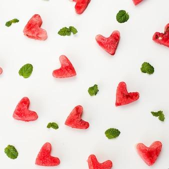 Watermelon heart texture.
