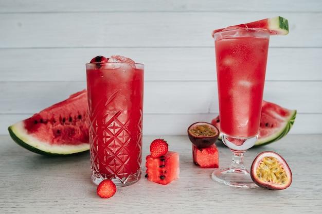 Watermelon lemonade on a wooden table