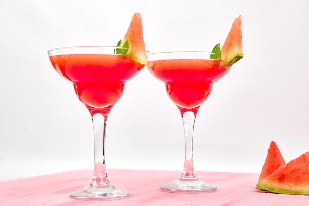 Watermelon margarita cocktail on white