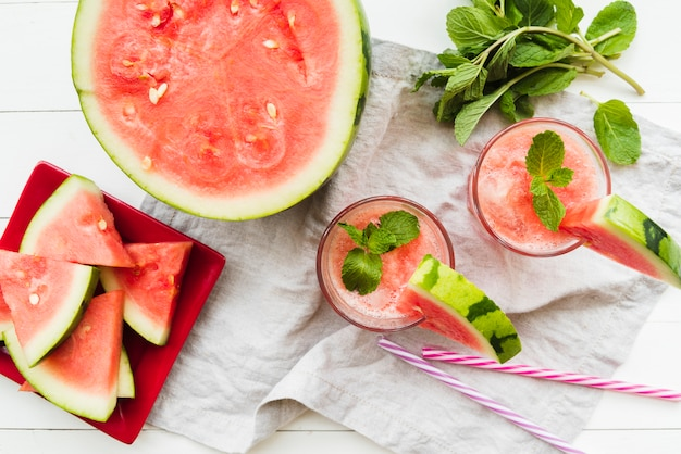 Watermelon-mint smoothies and watermelon