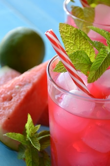 Watermelon mojito with mint, rum, ice and lemons