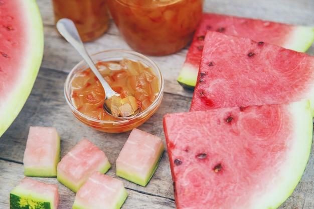 Watermelon peel jam in jars