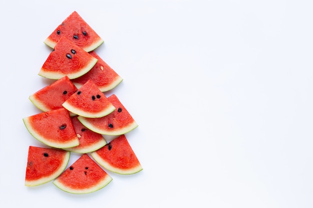 Watermelon pieces on white