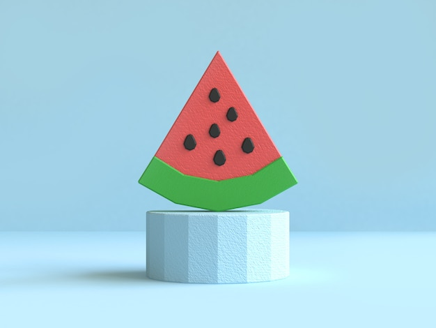 Watermelon red green low poly 3d rendering