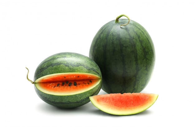 Watermelon ripe and tasty isolated on white surface