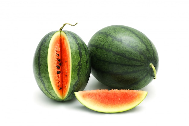Watermelon ripe and tasty isolated on white