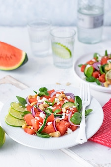 Watermelon salad on white table