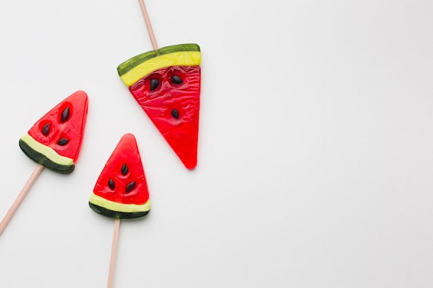 Watermelon shape lollipop with copy space