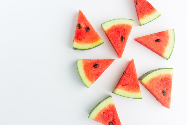 Watermelon slices in top view