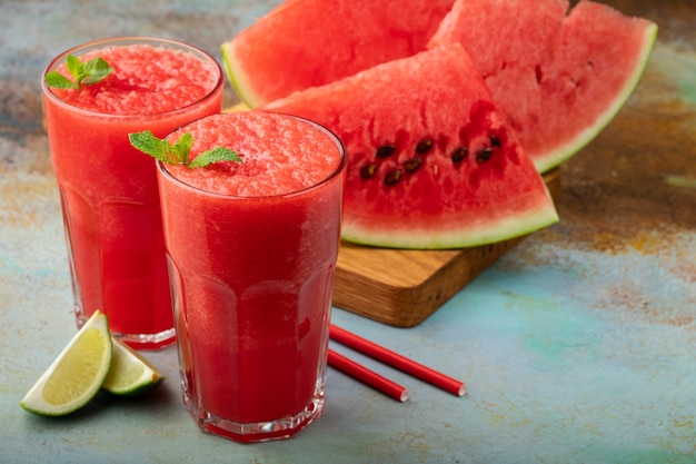 Watermelon slushie summer refreshing drink.
