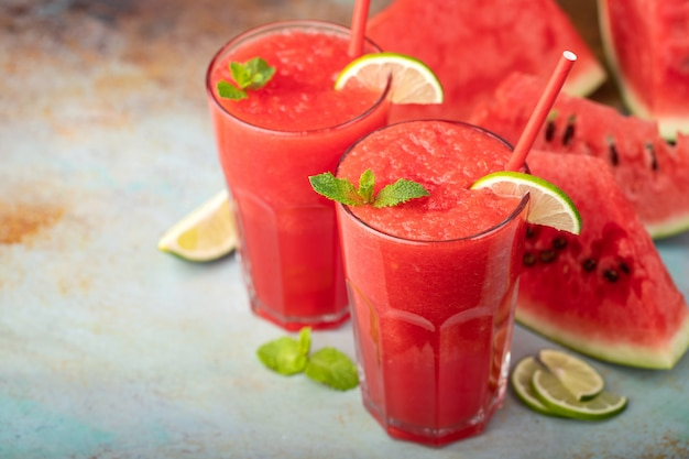 Watermelon slushie with lime.