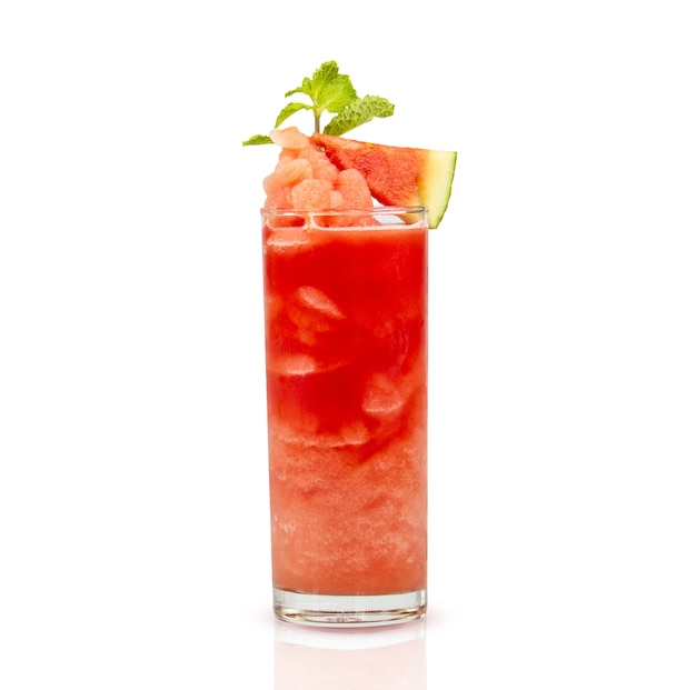 Watermelon smoothie garnished with watermelon slice and mint leaves