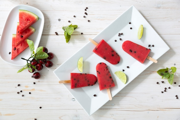 Watermelon sorbet ice-cream on plate for refreshing