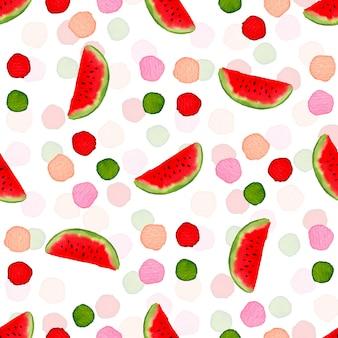 Watermelon watercolor seamless pattern. textile modern design