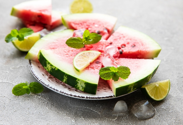 Watermelon with ice and lime
