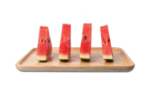 Watermelon on wooden plate