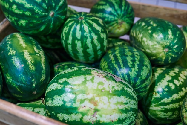 Watermelons in the box in the store