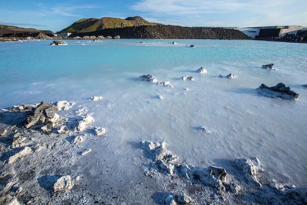 Waters near the blue lagoon spa on the reykjanes peninsula skaginn, iceland