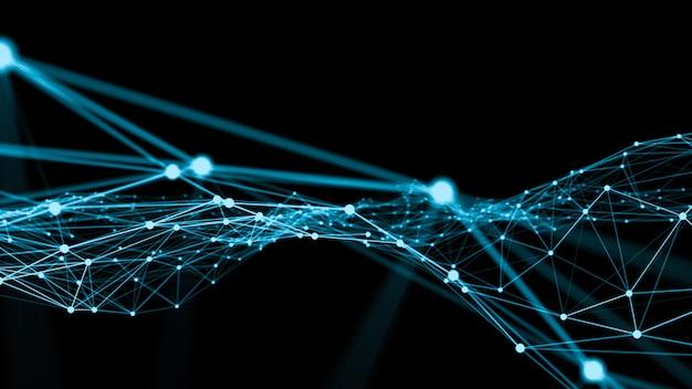 혁신적인 창조의 연결 네트워크 도트의 물결