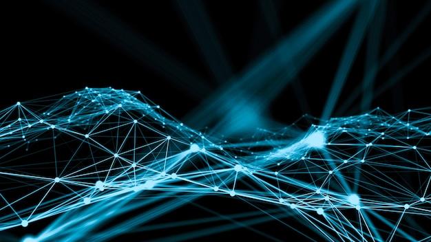 혁신적인 창조의 연결 네트워크 도트의 물결 프리미엄 사진