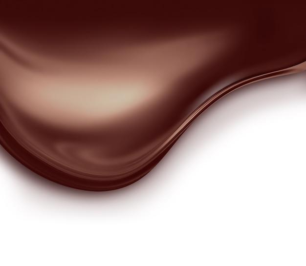Волна жидкого шоколада на белом фоне