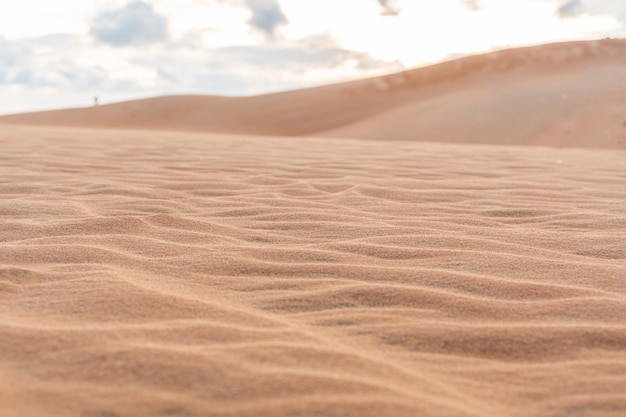 砂のテクスチャの波。ムイネー、ベトナム、コピースペース
