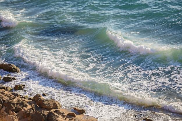 크리미아 연안에서 순수한 흑해를 파헤치십시오. 여름 시즌에 화창한 날의 바다 경치