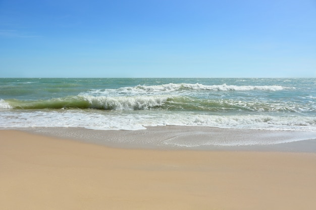 Wave of the sea on the sand beach,