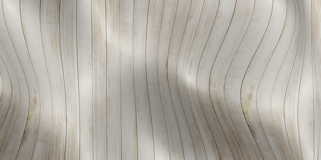 Wave of wooden floor curved plank abstract background 3d illustration
