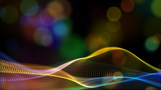 抽象虹色やホログラムカラーデジタル粒子がボケフロー背景とwave