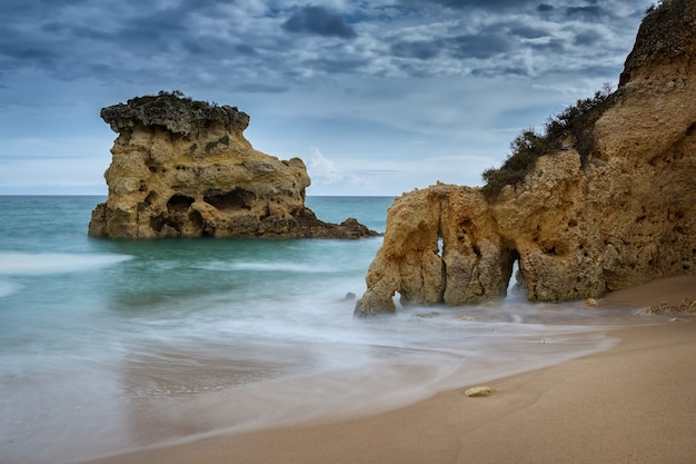 Waves on the coast of albufeira. before the storm. portugal.