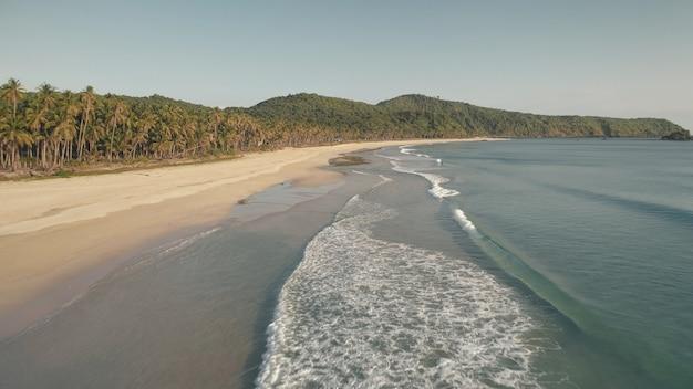 파도가 모래 바다 해안 공중에 떨어집니다. 오션 베이의 물결 모양의 바다. 열대 숲이있는 모래 해안